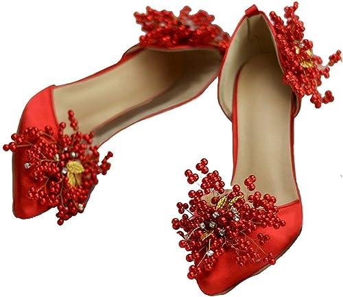 Qiusa Appliques pour Les Les Les Les dames avec des Chaussures de qualité pour la mariée (Couleuré   rouge-9cm Heel, Taille   4.5 UK) 4d5