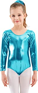 Mvefward Girls Long Sleeve Shiny Metallic Metallic Fish Scale Printing Mermaid Leotard Dancewear Bodysuit for Kids