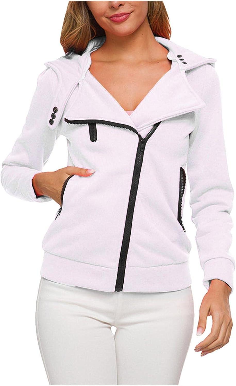 Xinantime Women's Hooded Coat Unique Design Full Zipper Jacket Ladies Long Sleeve Lapel Casual Top Ladies Button Short Tunic