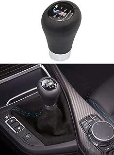 Health mall 6-Speed M Sport Logo Genuine Leather for M Performance Black Leather Shift Stick Knob