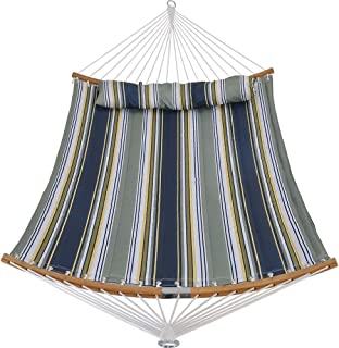 Patio Guarder 14 FT Portable Hammock with Double Size, Quilted Fabric Hammock with Solid Folding Curved Bamboo Spreader Bar, Outdoor Patio Yard Beach Hammock, 450 Lb Capacity, Dark Blue