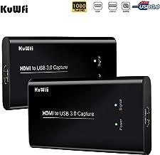 KuWFi Capturadora de Video, USB 3.0 Game Capture HD Dispositivo de Captura de vídeo convertidores de Tarjeta de Juego Streaming Live Stream Broadcast 1080P para Windows Linux Sistema Os X