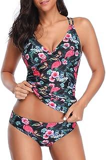 4119b5765f Kehen Women Women's Tankini Swimsuits, Floral Tankinis with Shorts Two Piece  Swimswear Set