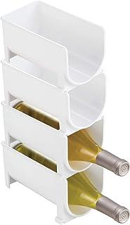 mDesign Estante para botellas - Ahorre espacio con este botellero apilable y tenga siempre ordenadas sus botellas de vino...
