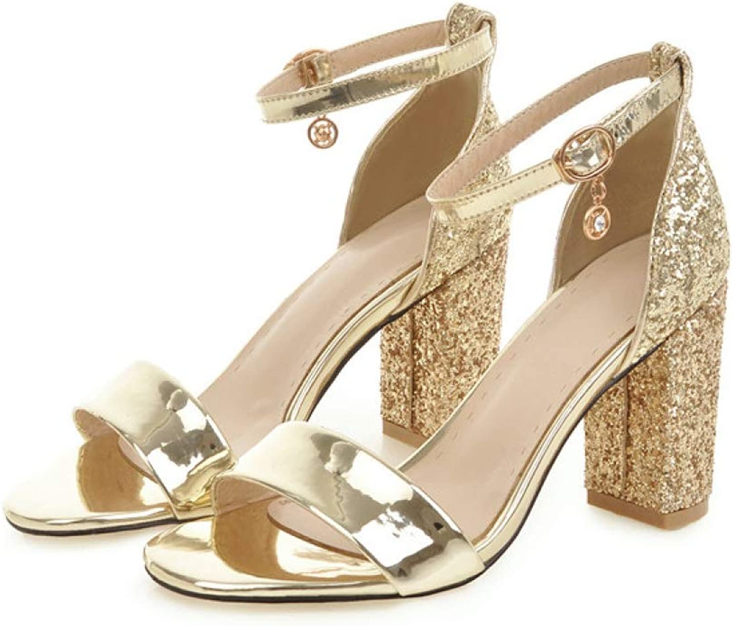 T-JULY Sandals for Women Summer Glitter Ankle Strap Square Heel Sexy High Heel Ladies shoes