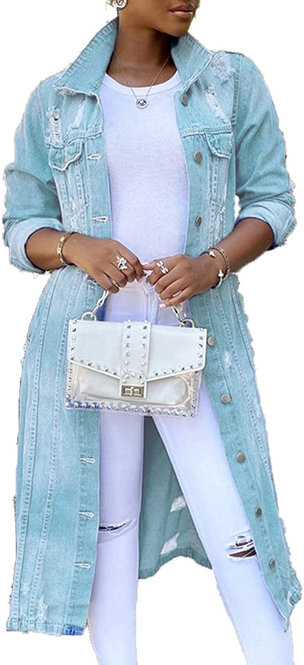 Women Denim Jacket Long Ripped Casual Long Sleeve Button Down Jackets Trenchcoat