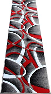 Masada Rugs, Sophia Collection Hand Carved Area Rug Modern Contemporary Red White Grey Black (2 Feet X 7 Feet 3 Inch) Runner