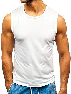 ESKNAS Men's Tank Tops Solid Color Basic Tracksuit Sleeveless Muscle T-Shirt Athletic Sport Vests