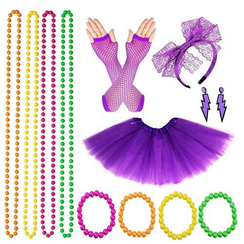 14 Stück Frauen 80er Jahre Outfit Kostüm Set, 80er Jahre Outfit Zubehör Set Für Junggesellenabschied, Festliche Anzieh, Cosplay(Lila)