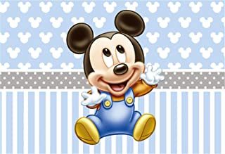 Mickey Mouse Step and Repeat Background 7x5 Light Blue Photo Backdrop for Boy 1st Birthday Party Grey Banner Customized Kids Studio Backgrounds Props