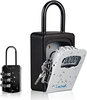 KIYA Key Lock Box - Wall Mounted with a Hook - Portable Safe Key Lock Box with 4 Digit Combination - Waterproof Outdoor Key Lock Box - 5 Key Capacity for Home, Hotel, School, Office, Airbnb, Booking
