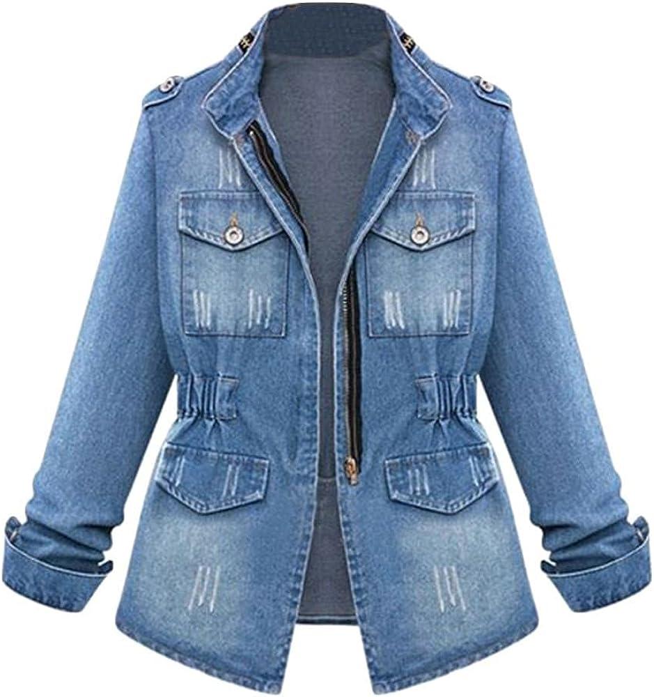 Oversized Denim Jacket Womens Vintage Long Sleeve Boyfriend Ripped Jean Jacket Windbreaker Coat S-5XL