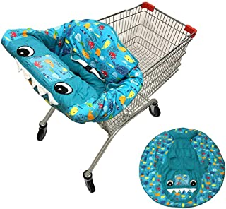 O-Toys 3 in 1 Shopping Cart Cover Baby Toddler High Chair Cover Portable Infant Cotton Seat Cover Positioner Shark Play Mat with Storage Pouch and Safety Belt for Boys Girls Germ Protection