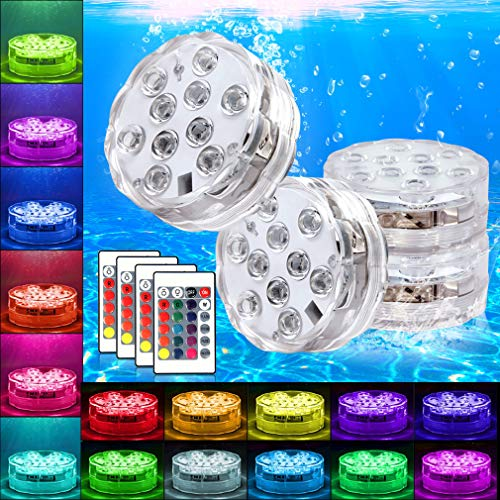 Swimming Pool Lights Submersible LED Lights Underwter Pond Light Remote Control Battery Operated for Fish Tank,Aquarium,Tub,Fountain,Waterfall,Vase Base Best Party Supplies Events Décor(4 Pack)