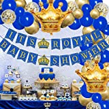 Royal Prince Baby Shower Decorations for Boys Balloon Garland Arch Kit Blue and Gold It's a Royal Banner Crown Foil Balloons