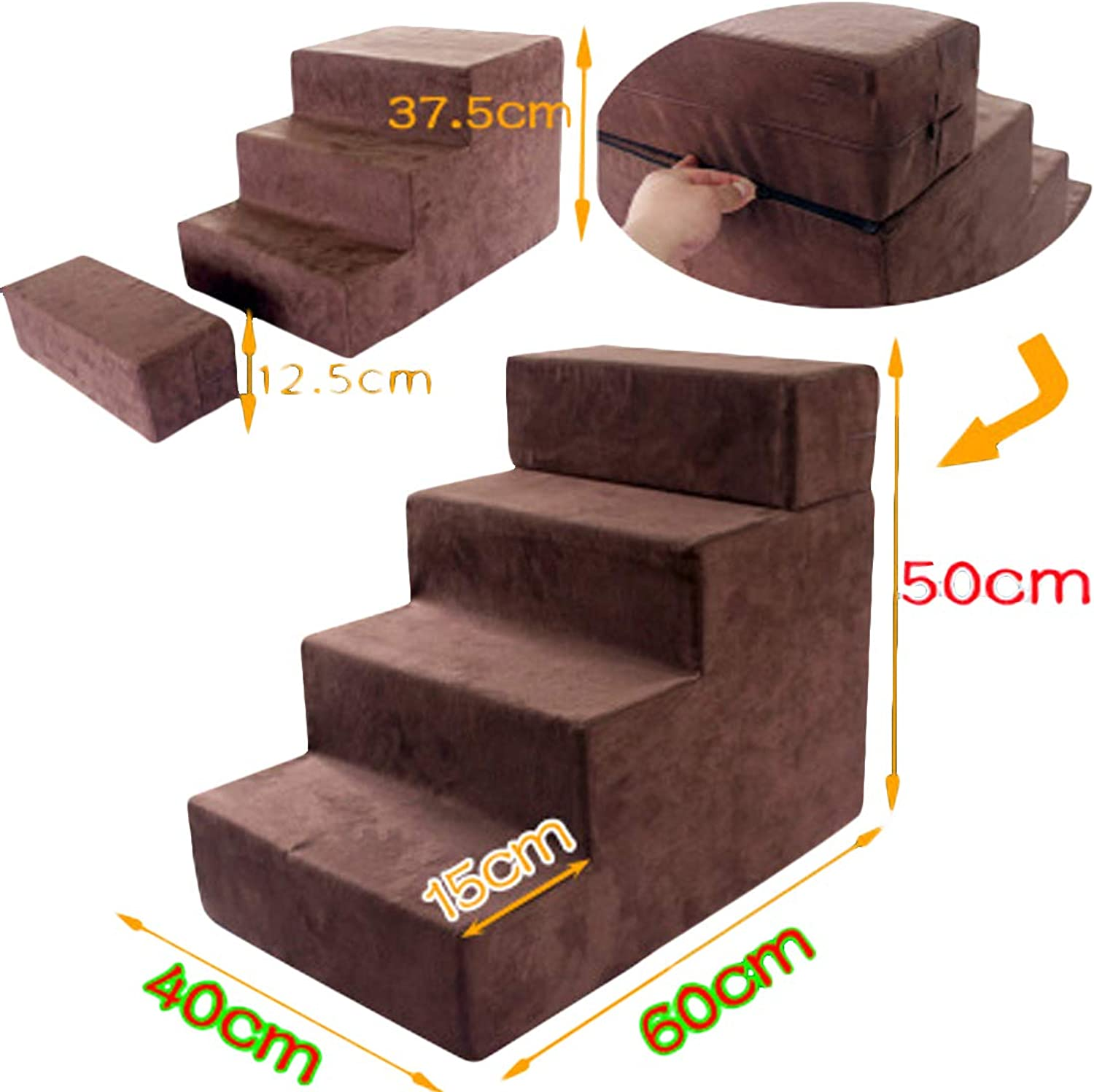 Zhyaj Dog Ramp for Bed dog Steps for High Bed Pet Stairs Cat Dog Climbing Stairs Small Dog 3 può essere assemblato in 4 Layer Va To Ladder Cotton Wool Family Favorite