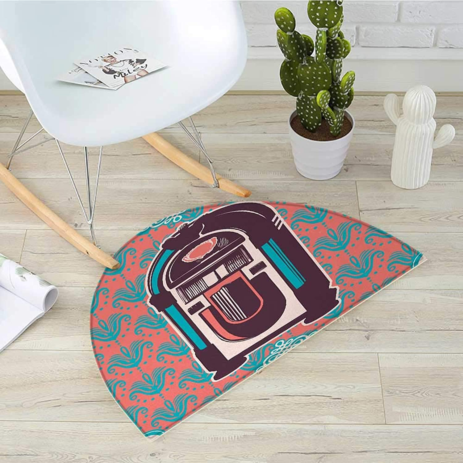 Jukebox Semicircle Doormat Floral Paisley Inspired Backdrop with Music Box Retro Party Print Halfmoon doormats H 31.5  xD 47.2  Turquoise Coral Dried pink