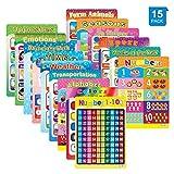 Lernposter für Vorschulkinder und Kinder ideal für Kindergarten Homeschool Kindergarten Klassenzimmer Lehrt Zahlen Alphabet Farben Tage und mehr 40,6 x 27,9 cm (15 Stück)