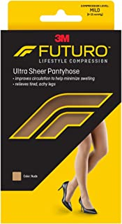 Futuro Energizing Ultra Sheer Pantyhose for Women, Helps Relieve Symptoms of Mild Spider Veins, Mild Compression, French Cut, Small, Nude