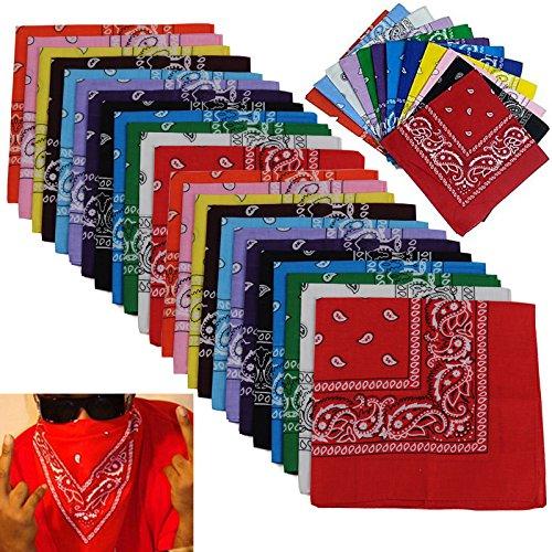 BSLINO Bandanas 24pcs 22 X 22 Inch 100% Cotton Bandana Novelty Double Sided Print Paisley Cowboy Bandana Party Favor Scarf Headband Handkerchiefs Two Dozen