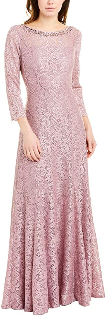 Tahari ASL Women's Long Sleeve Embellished Neck Gown