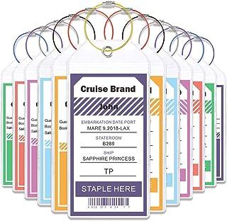 Cruise Tags Wide Luggage Tags Etag Holders Zip Seal & Steel Loops (12 tags)