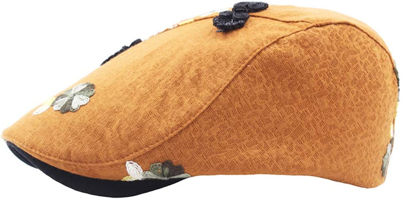 Cotton Cap, Embroidered Beret, Retro Casual hat, Outdoor Sun Visor, Men's and Women's Flat caps,F