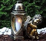 ♥ Grablaterne Grablampe Grablicht Engel 30,0cm mit Grabkerze Grabschmuck Grableuchte Laterne...