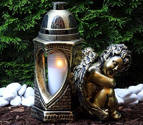 ♥ Grablaterne Grablampe Grablicht Engel 30,0cm mit Grabkerze Grabschmuck Grableuchte Laterne Grabkerze Lampe Kerze Licht Friedhof Garten