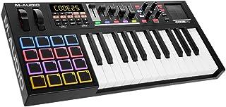 M-Audio Code 25 - Controlador teclado MIDI USB con 25 teclas, Pad XY asignable, 16 pads de disparo, 4 encoders con 5 faders asignables y botones para control y un paquete de software incluido, negro