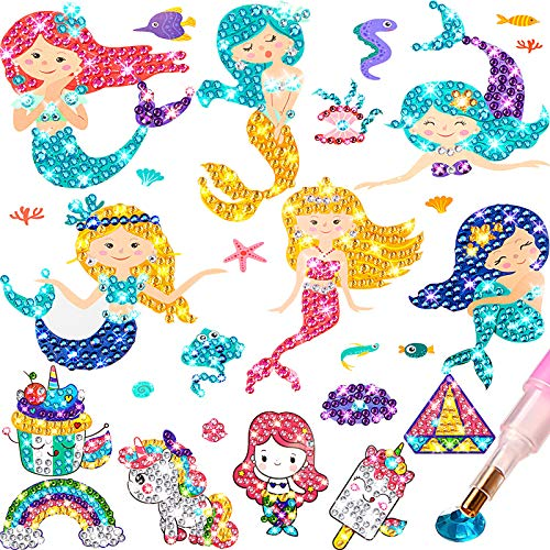 Zonon Gem Diamond Painting Kit for Kids, 26 Pieces Diamond Painting Stickers with DIY Painting Tools to Create Your Own Magical Stickers Cute Art and Crafts for Girls Boys
