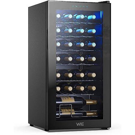 WIE Cantinetta Vino, 28 Bottiglie Mini Frigo Bar Frigorifero per Vini e Bevande, Temperatura digitale del tocco di 5-18 ° C, Illuminazione interna a LED, 82 Litri, Nero item_name
