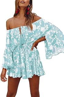 GAMISOTE Womens Off Shoulder Mini Dress Bell Sleeves Boho Floral Print Short Sundress