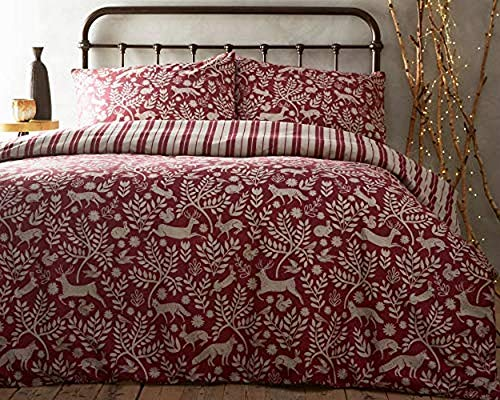 Creative Cloth Skandi Woodland Duvet Set, Cotton, Wildberry Red, King