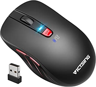 VicTsing Bluetooth Mouse 【2020 Classic】, Portable Ergonomic Wireless Mouse, Bluetooth 4.0 & USB Supported, Easy-Switch up to 2 Devices, 5 Adjustable DPI for Laptop, PC, Windows, Android, Mac - Black