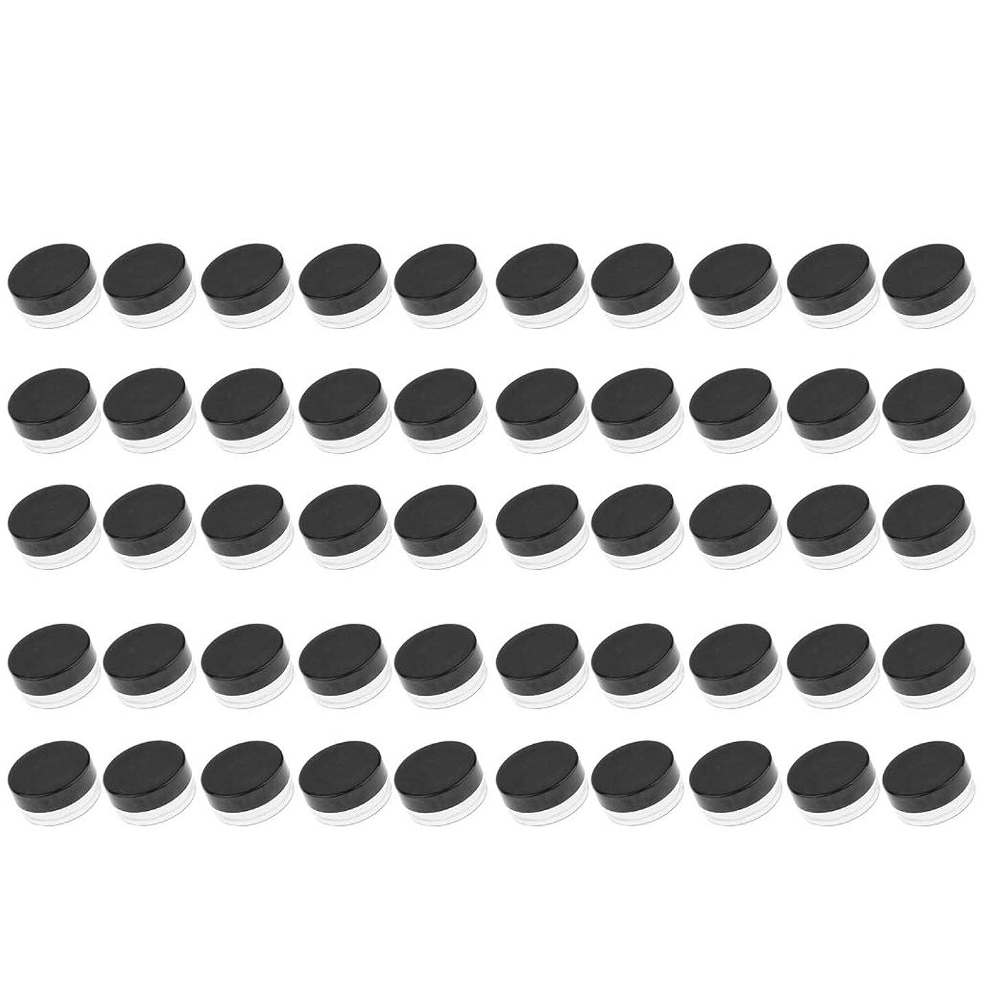 解放するピケ暴君D DOLITY 50個 クリームジャー クリームケース プラスチック 化粧品 詰替え 容器 旅行用 小分け 3g - ブラック