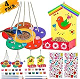 Kids Arts and Crafts 4-Pack Bird Feeders for Outdoor, DIY Wooden Painting Kits with Diamond Stickers, Educational Fun Kids Crafts Toys for Boys Girls Age 3-5 4-8 8-12