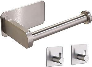 Toiletrolhouder zelfklevend, toiletrolhouder zonder stalen wandmontage papierhouder met 2 zelfklevende haken voor badkamer...