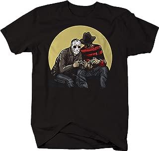 Horror Scary Movie Villains Playing Video Games Jason Freddy Tshirt