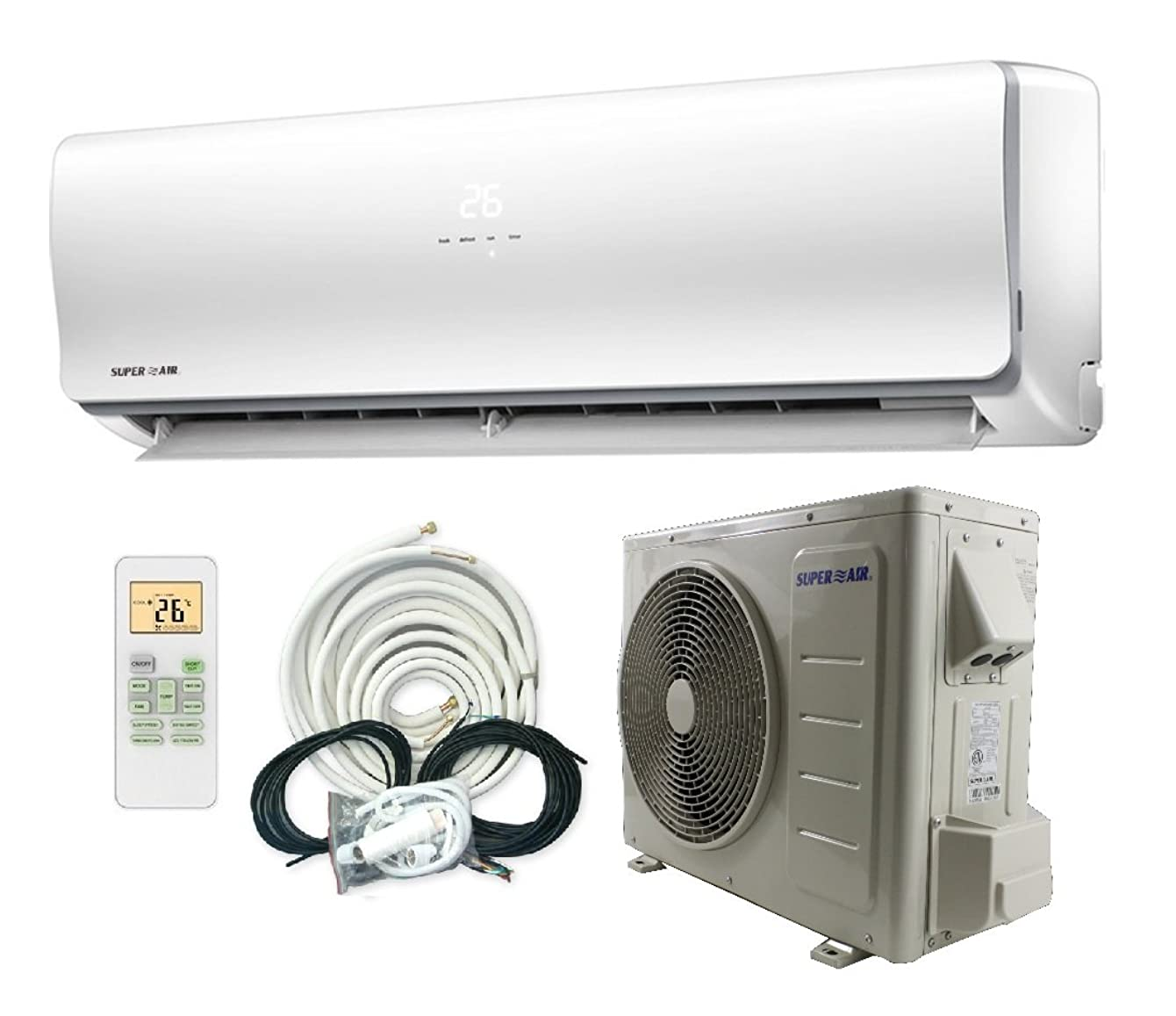 Superair 12000 BTU 22 SEER (1 TON) Ductless Mini Split System Inverter Air Conditioner with Heat Pump 110V - Full Set