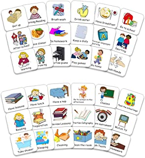 Magnetic Kids Calendar Collection Chore Cards for Visual Schedules, Kids Calendars and Behavior Charts, 40 PCS Task Cards