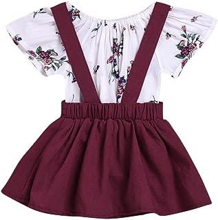 CCSDR Baby Girl Strap Skirt+Romper,Infant Floral Print Shirt Jumpsuit Outfit Set (12-18 Months, Wine)