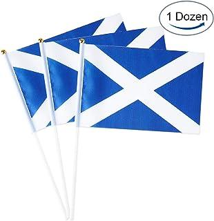 Mflagperft Scotland Flag Scottish Small Stick Mini Hand Held Flags Decorations 1 Dozen (12 Pack)