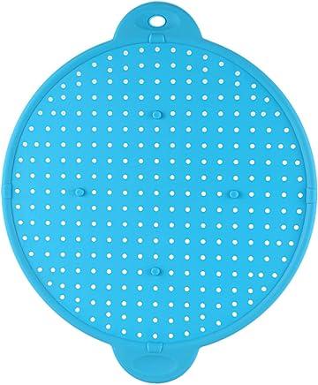 CUHAWUDBA 3 In 1 Kitchen Splatter Screen Silicone Oil Splatter Guard Guard Heat Insulation Cooling Mat For Frying Pan Screen Strainer Blue