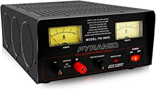 Universal Compact Bench Power Supply - 32 Amp Linear Regulated Home Lab Benchtop AC-to-DC 12V Converter w/ 12-15V DC 115V AC 600 Watt Input, Amperage Gauge Display, Adjustable Voltage - Pyramid PS36KX