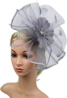 Feather Mesh Headdress Hat, Cocktail Party Bridal Hat,Flower Party Headdress Hair Clip for Tea Par Top Hat Derby Kentucky Wedding,Gray