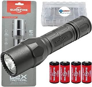 SureFire G2X Tactical 600 Lumen EDC Flashlight Bundle with 2x Extra SureFire CR123A and Lightjunction Battery Case (Black)