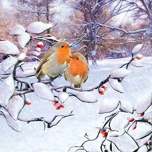 Papier Servietten Lunch Fest Party ca 33x33cm Herbst Autumn Weihnachten Winter Rotkehlchen Robins On Branch
