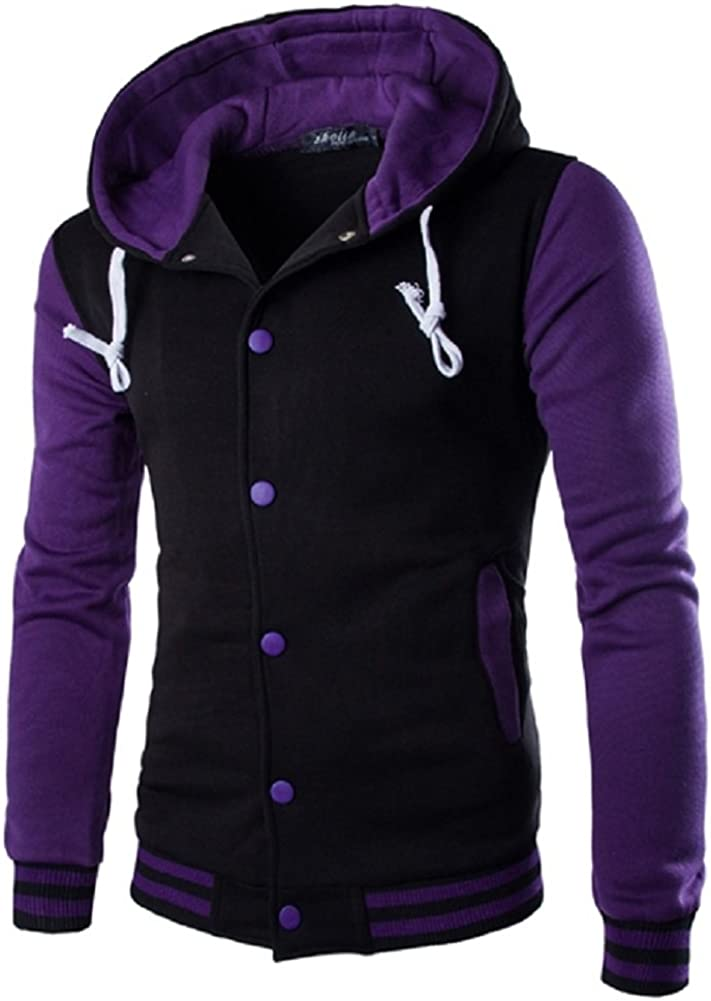 Kalanman Men's Slim Fit Hoodie Varsity Baseball Button Through Jacket with Hooded
