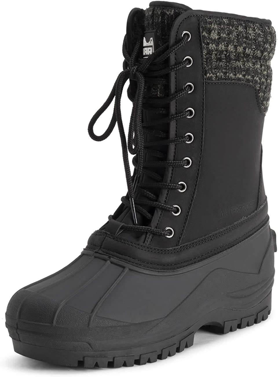 POLAR Womens Muck Lace Up Duck Snow Winter Rain Black Mid Calf Boots